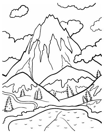 Coloring Mountain Mountains Pages Printable Coloringcafe Patterns