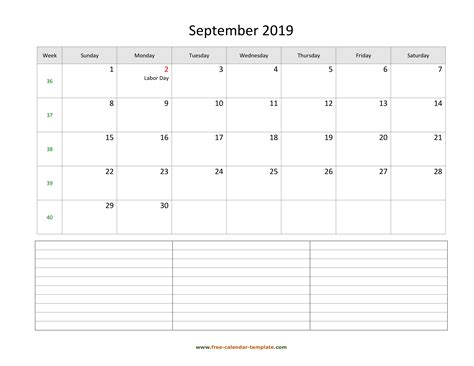 september   calendar tempplate  calendar