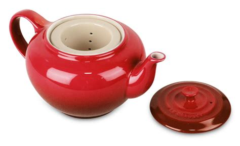 le creuset stoneware small teapot  infuser oz cherry red cutlery
