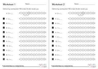 subtraction  counting  worksheets set