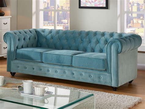 canape  places  fauteuil velours bleu chesterfield