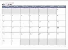 Calendario ottobre 2017 da stampare iCalendarioit