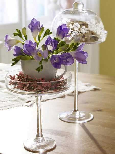 create floral arrangements  shallow containers