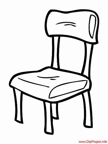 Chair Clipart Coloring Stuhl Pages Silla Throne