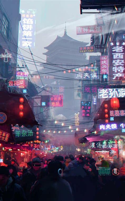 logo hip hop aesthetic   cyberpunk city