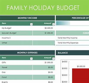 Ledger Template Family Holiday Budget My Excel Templates