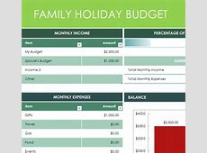 Family Holiday Budget My Excel Templates