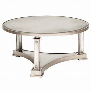 tully hollywood regency silver antique mirror round coffee With antique silver coffee table