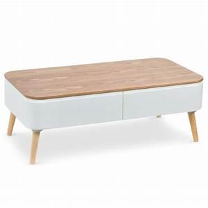 Table Basse Scandinave Blanche : table basse scandinave bergen blanc et bois ~ Teatrodelosmanantiales.com Idées de Décoration