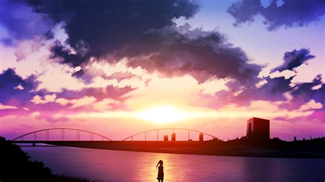 Anime Sunset Wallpaper - anime sunset river sky clouds wallpapers hd desktop