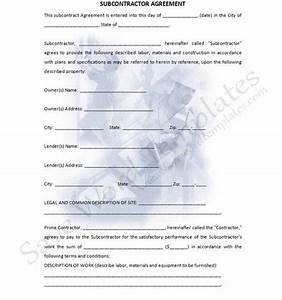 subcontractor agreement With contract for subcontractors template