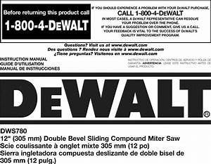 Dewalt Dws780 Type 20 User Manual Miter Saw Manuals And
