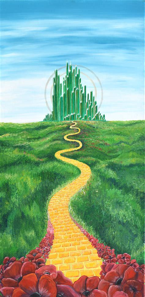 shower curtains goodbye yellow brick road painting by meganne peck