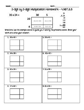 2 digit by 2 digit multiplication homework area model by