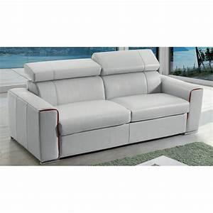 canape lit rapido en cuir avec matelas 18 cm verysofa renoir With canapé lit en cuir