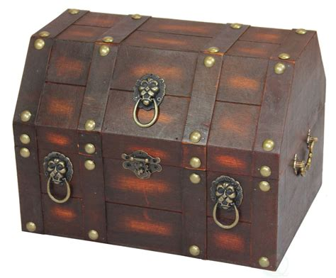 New Vintiquewise Antique Wooden Pirate Treasure Chest With Lion Rings, Qi003039 Ebay