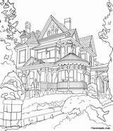Coloring Mansion Victorian Adult Favoreads Printable Authentic Architecture Colorear Cityscape Pintar Dibujos Colouring Paisaje Dibujo Paisajes Kleurplaten Carousel Porch Tekeningen sketch template