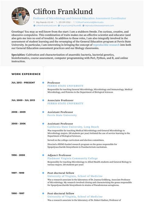 Professor Resume by Professor Resume Sles And Templates Visualcv