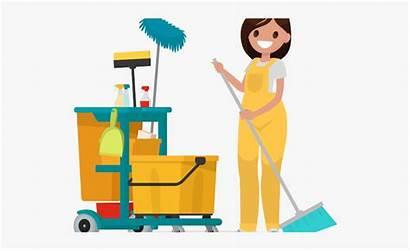 Custodian Janitor Cartoon Floor Cleaning Clipart