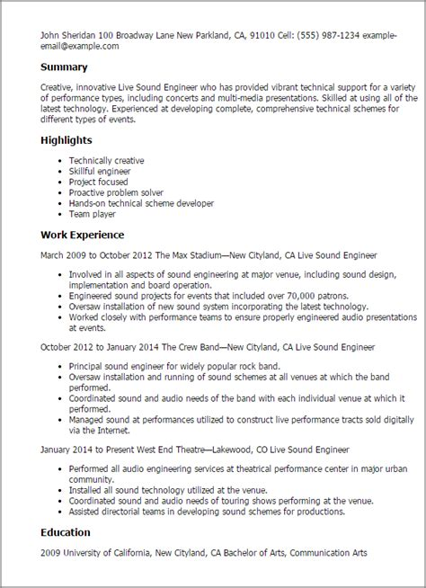 Theatre Technician Cv Template by Professional Live Sound Engineer Templates To Showcase