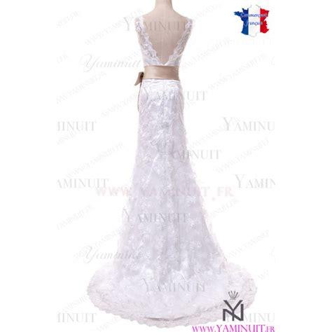 robe de mariée et blanche dentelle robe mari 233 e boh 232 me chic dentelle blanche traine et ceinture