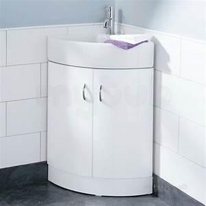 hib 993474019 white denia curved corner bathroom vanity With curved bathroom units