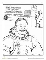 Neil Armstrong Coloring Worksheet Astronauts Famous Scouts Tiger Space Child Cub Worksheets America Did Education Maybe Grade Sheet Second Scout sketch template