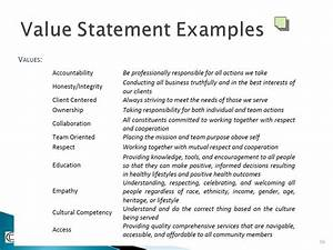 strategic plans the engine of performance management With values statement template