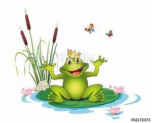 Frosch Bilder Lustig : frosch mit krone seerosen schilf und schmetterlinge stockfotos und lizenzfreie vektoren auf ~ Whattoseeinmadrid.com Haus und Dekorationen
