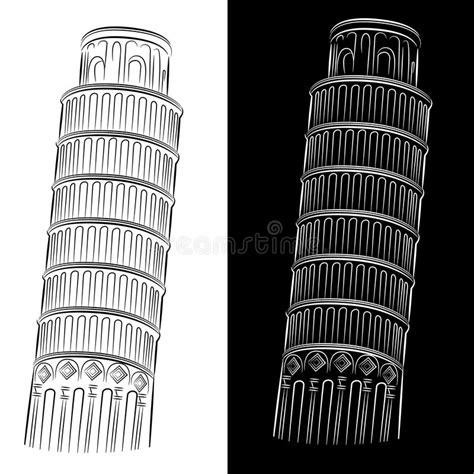 toren van pisa tekening leunende toren van de tekening van pisa vector illustratie