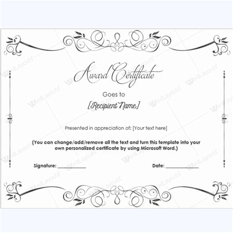 award certificate templates  printable documents