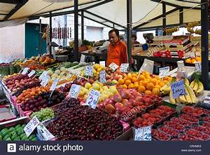 A fruit and vegetable market stall in the rialto market ...