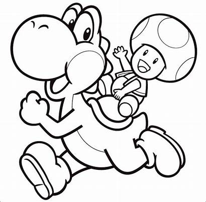 Mario Yoshi Coloring Toad Pages Super Drawing