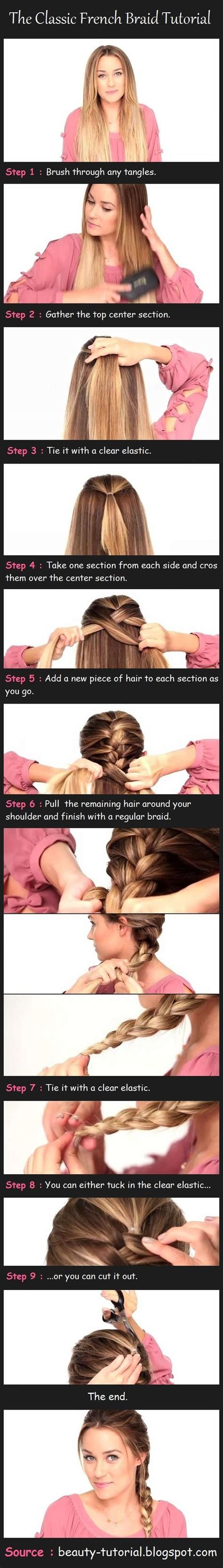 classic french braid tutorial pictures