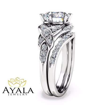 2 carat diamond wedding ring set in 14k white gold vintage