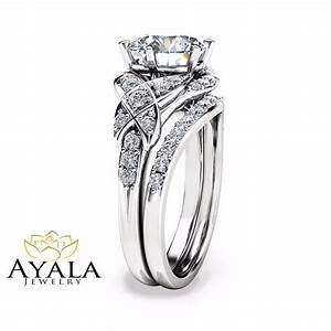 2 carat diamond wedding ring set in 14k white gold vintage for Wedding band under engagement ring