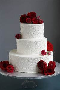 White scrolled wedding cake with red roses | Take the Cake ...