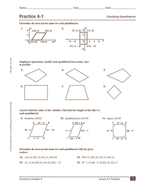 classify quadrilaterals worksheet worksheets