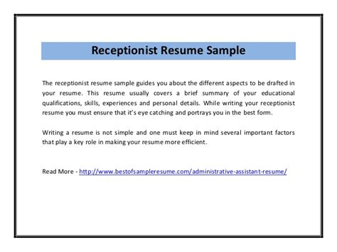 Summary Of Qualifications For Receptionist Resume by Receptionist Resume Sle Pdf