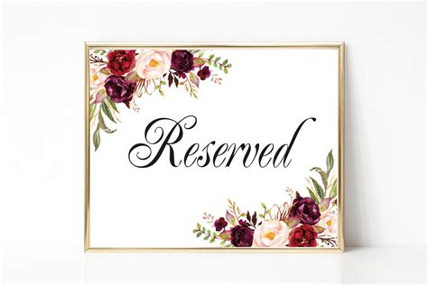 reserved sign reserved sign wedding reserved table sign reserved card