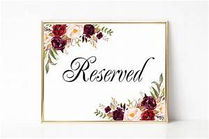 Reserved Sign Wedding Reserved Table Sign Reserved Card