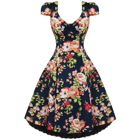 Womens Ladies New Vintage 1950s Vtg Navy Blue Floral Party