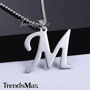 22quot a y silver stainless steel initial letter pendant With mens letter pendant