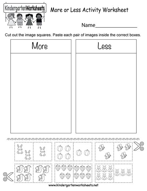 activity worksheet  kindergarten math