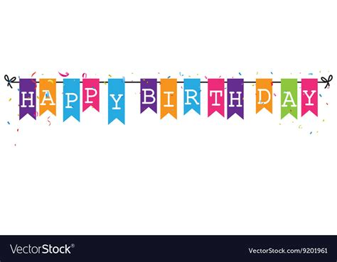 bunting flags banner  happy birthday letter vector image