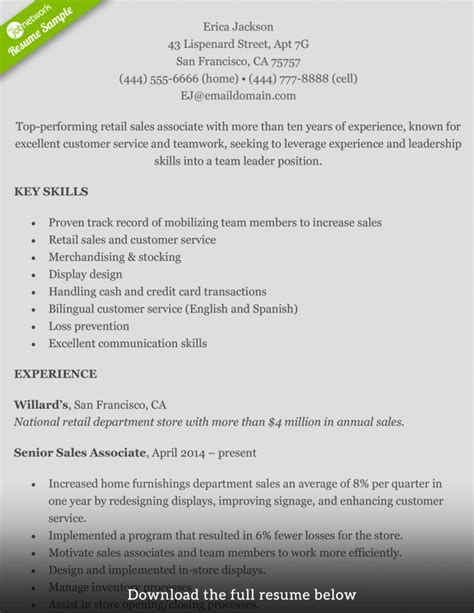 How To Write A Sales Resume by Resume Exles For Retail No Experience Of Resumes