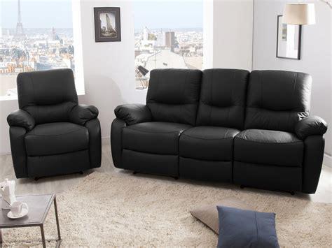 canapé 3 places 2 relax manuel fauteuil cuir gaspard noir