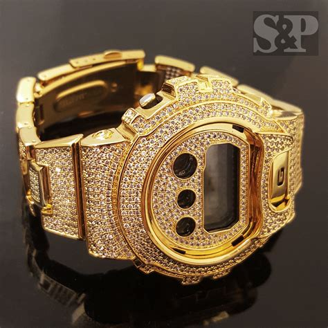 Men Iced Out Simulated Diamond Authentic DW6900 Gold Brass