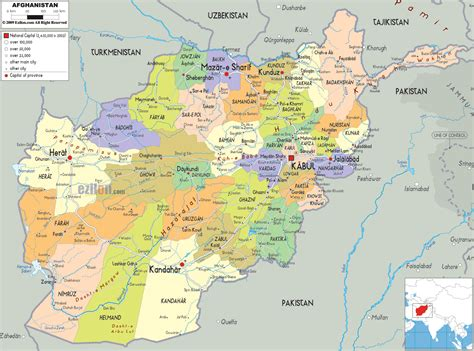 political map  afghanistan ezilon maps