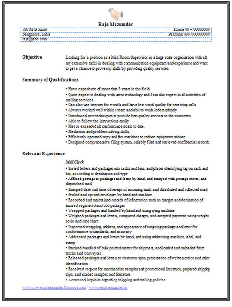 three page resume ok 10000 cv and resume sles with free mail clerk resume sle